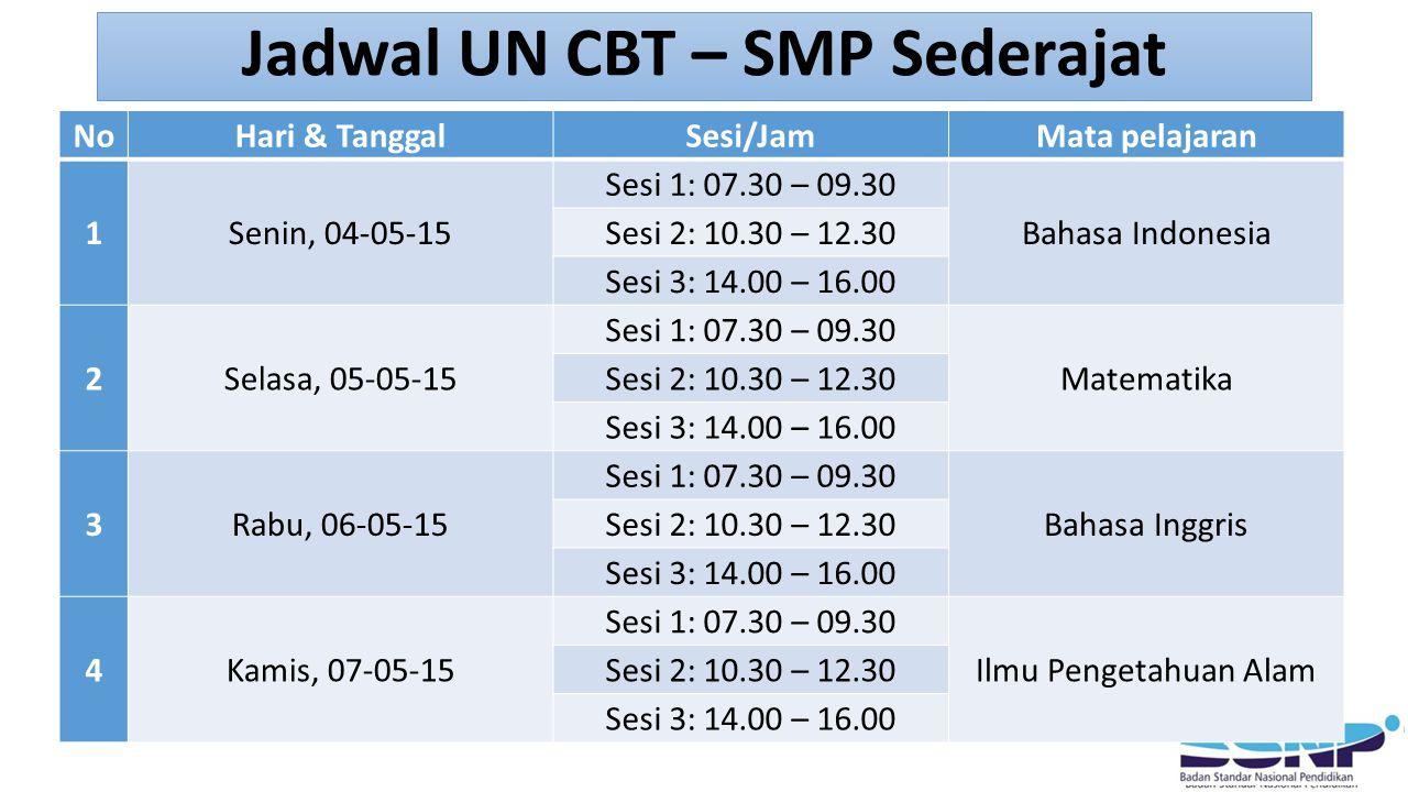 Jadwal UN CBT – SMP Sederajat