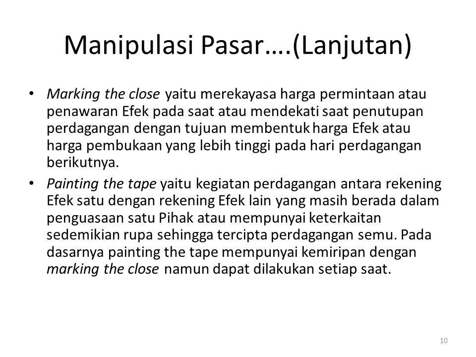 Manipulasi Pasar….(Lanjutan)