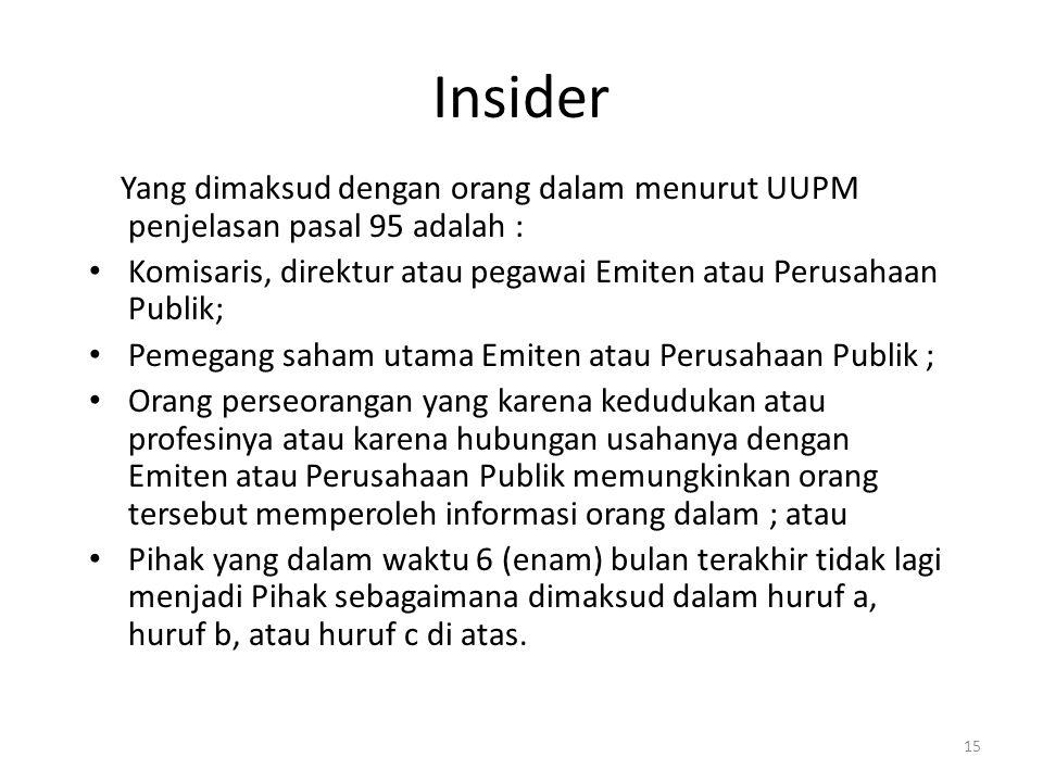 Insider Yang dimaksud dengan orang dalam menurut UUPM penjelasan pasal 95 adalah : Komisaris, direktur atau pegawai Emiten atau Perusahaan Publik;