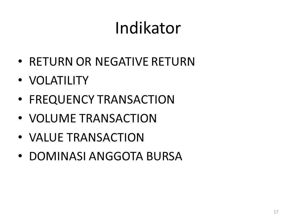 Indikator RETURN OR NEGATIVE RETURN VOLATILITY FREQUENCY TRANSACTION