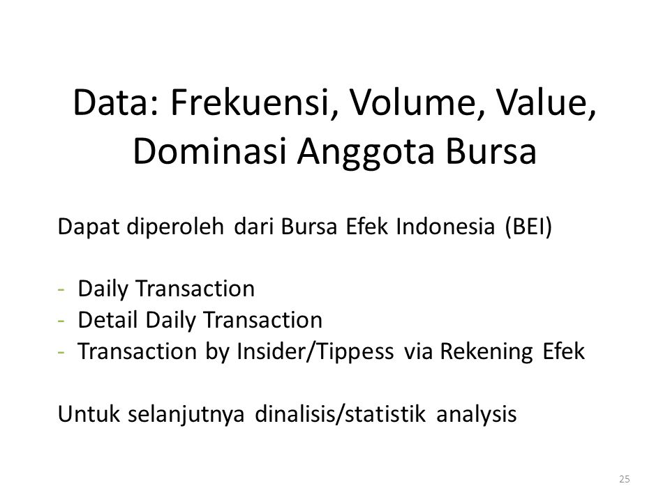 Data: Frekuensi, Volume, Value, Dominasi Anggota Bursa