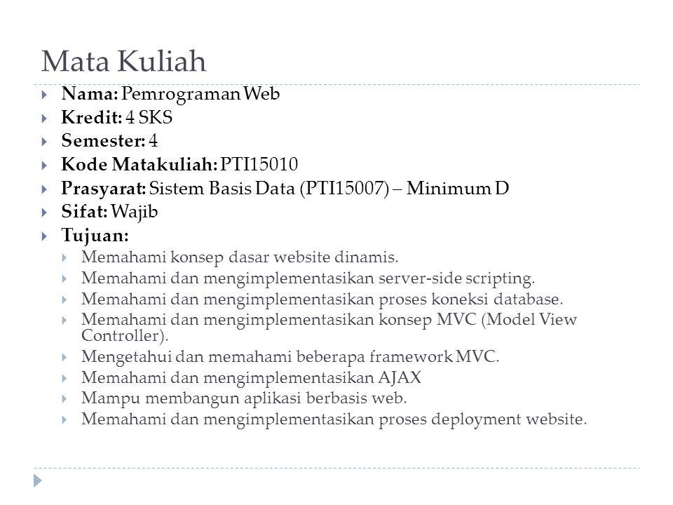 Mata Kuliah Nama: Pemrograman Web Kredit: 4 SKS Semester: 4