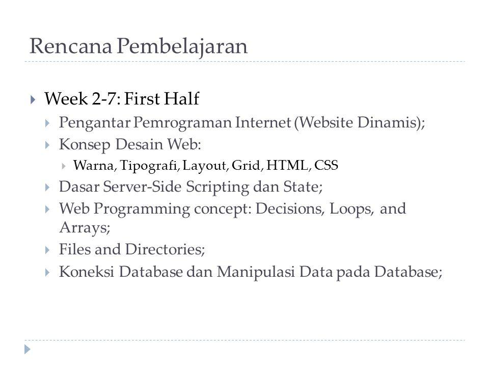 Rencana Pembelajaran Week 2-7: First Half