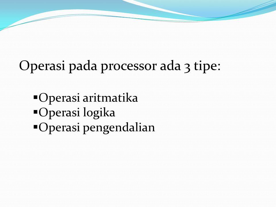 Operasi pada processor ada 3 tipe: