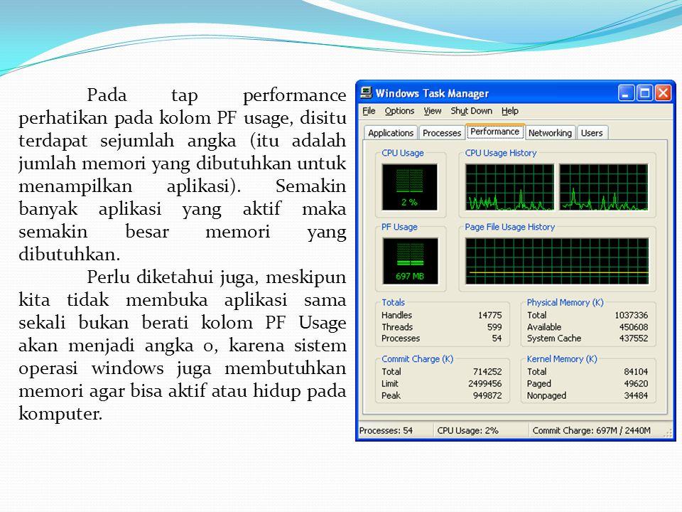 Pada tap performance perhatikan pada kolom PF usage, disitu terdapat sejumlah angka (itu adalah jumlah memori yang dibutuhkan untuk menampilkan aplikasi). Semakin banyak aplikasi yang aktif maka semakin besar memori yang dibutuhkan.