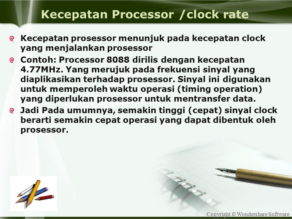 Kecepatan Processor /clock rate