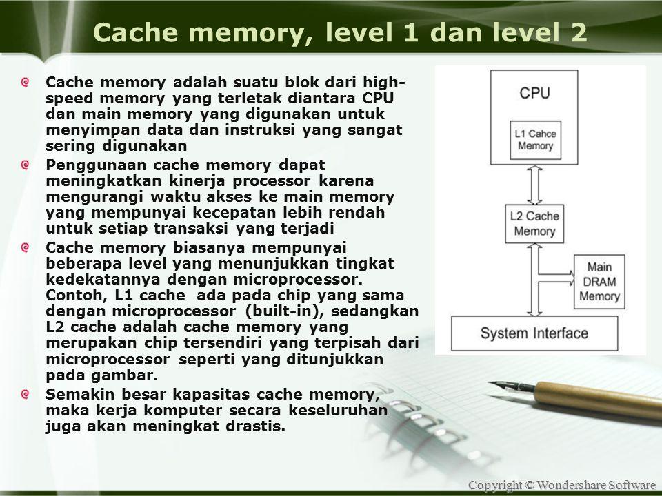 Cache memory, level 1 dan level 2