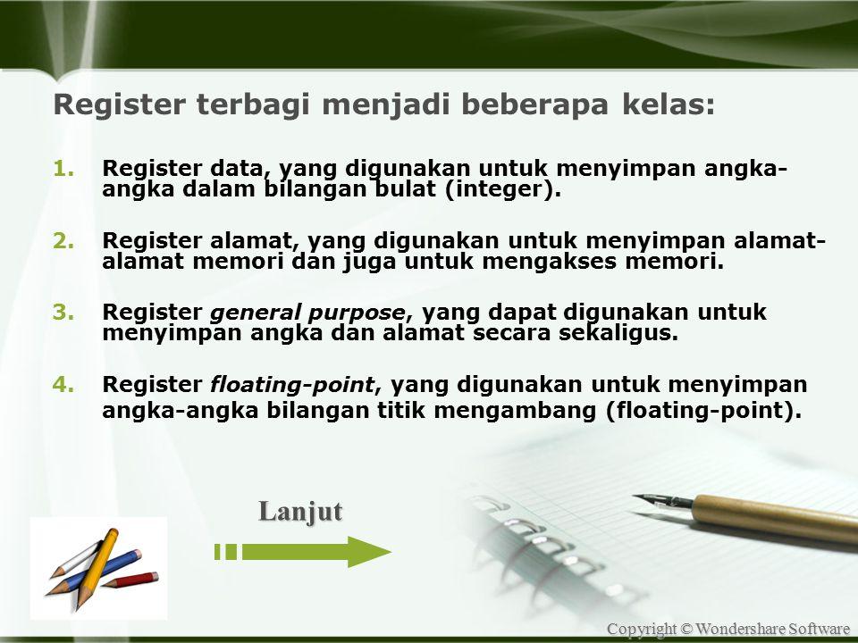 Register terbagi menjadi beberapa kelas: