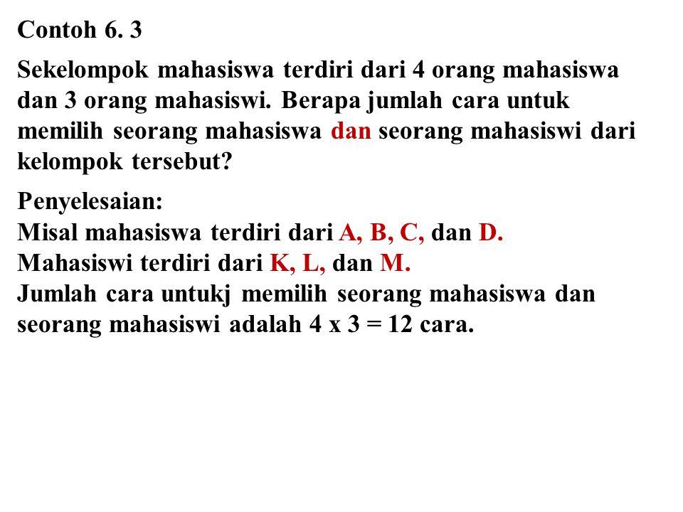 Contoh 6. 3 Sekelompok mahasiswa terdiri dari 4 orang mahasiswa dan 3 orang mahasiswi. Berapa jumlah cara untuk.