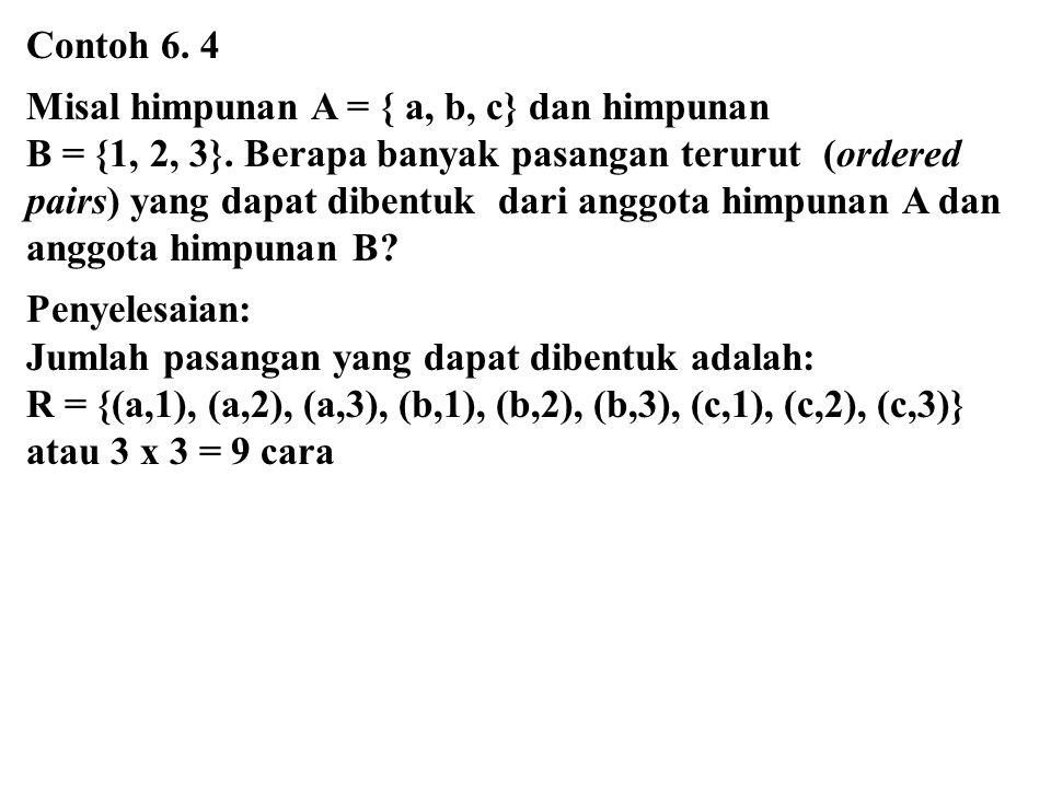 Contoh 6. 4 Misal himpunan A = { a, b, c} dan himpunan.