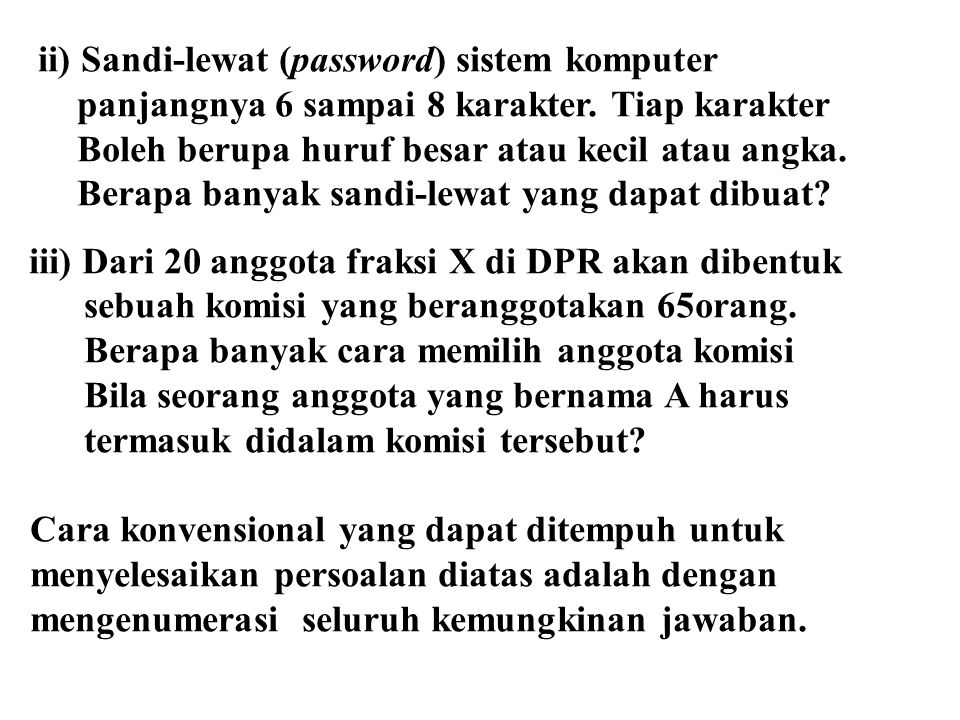 ii) Sandi-lewat (password) sistem komputer