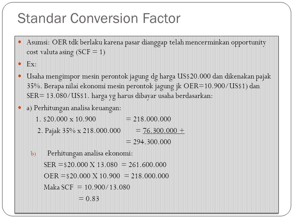 Standar Conversion Factor