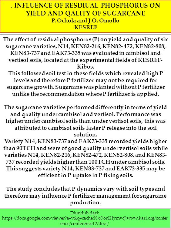 . INFLUENCE OF RESDIUAL PHOSPHORUS ON YIELD AND QALITY OF SUGARCANE
