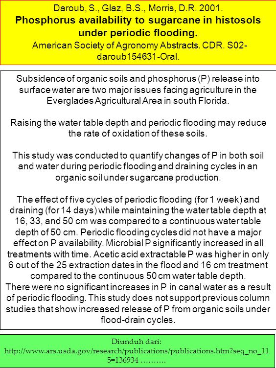 American Society of Agronomy Abstracts. CDR. S02-daroub154631-Oral.