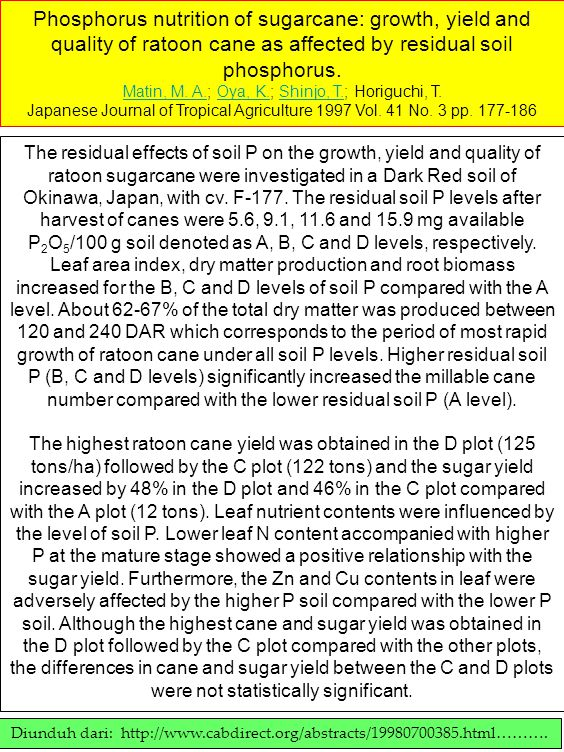 Phosphorus nutrition of sugarcane: growth, yield and quality of ratoon cane as affected by residual soil phosphorus.