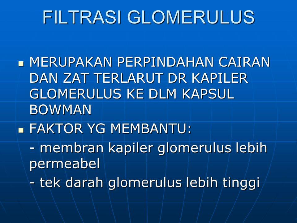 FILTRASI GLOMERULUS MERUPAKAN PERPINDAHAN CAIRAN DAN ZAT TERLARUT DR KAPILER GLOMERULUS KE DLM KAPSUL BOWMAN.