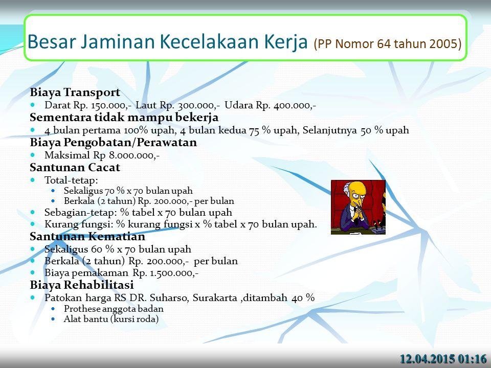 Besar Jaminan Kecelakaan Kerja (PP Nomor 64 tahun 2005)