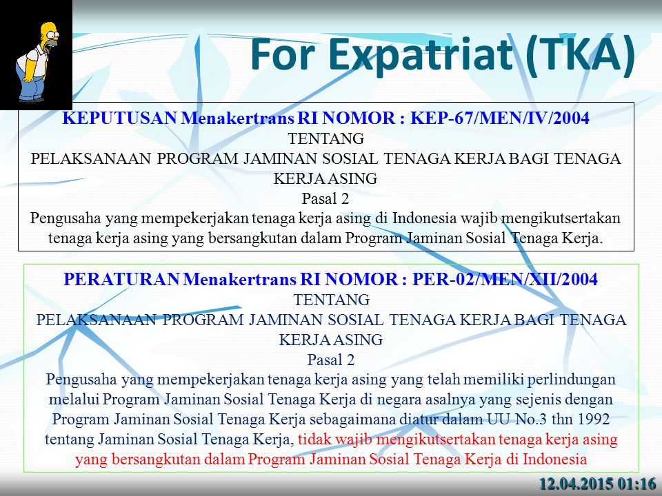 For Expatriat (TKA) KEPUTUSAN Menakertrans RI NOMOR : KEP-67/MEN/IV/2004. TENTANG.