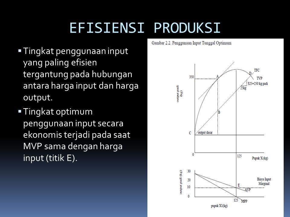 EFISIENSI PRODUKSI Tingkat penggunaan input yang paling efisien tergantung pada hubungan antara harga input dan harga output.