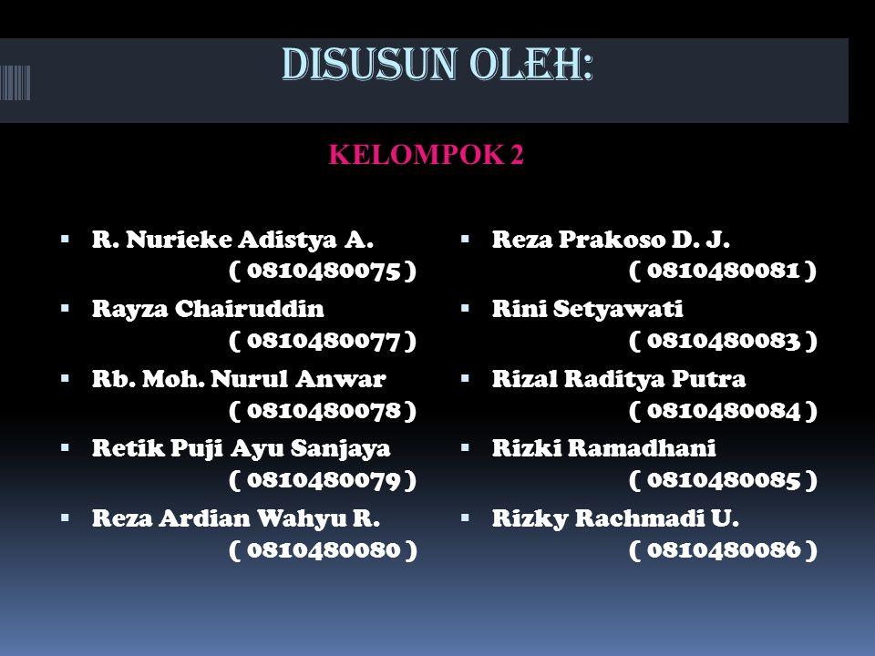 DISUSUN OLEH: KELOMPOK 2 R. Nurieke Adistya A. ( 0810480075 )