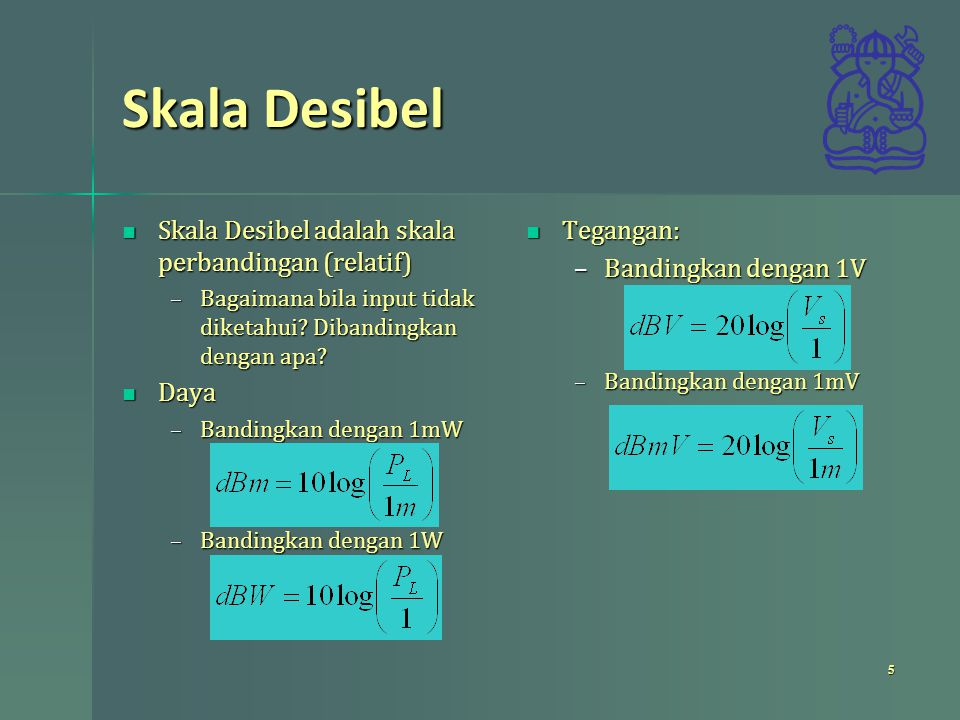 Skala Desibel Skala Desibel adalah skala perbandingan (relatif) Daya