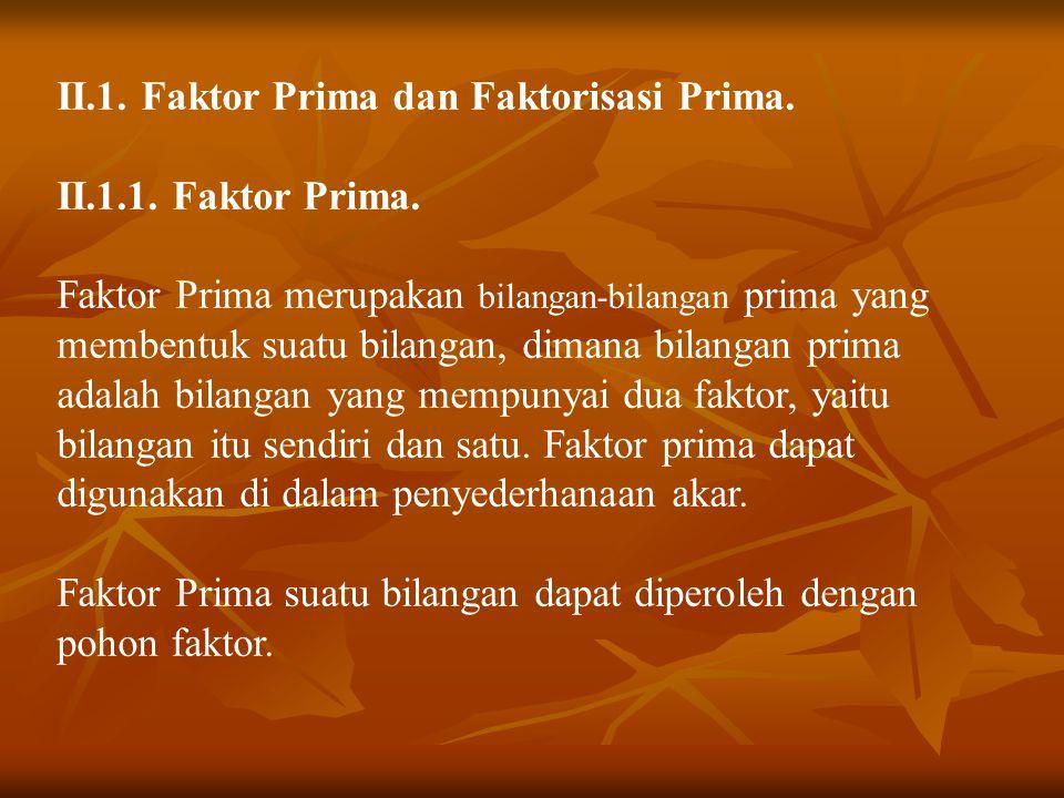II.1. Faktor Prima dan Faktorisasi Prima.