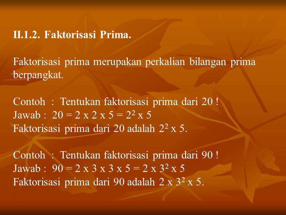II.1.2. Faktorisasi Prima. Faktorisasi prima merupakan perkalian bilangan prima berpangkat. Contoh : Tentukan faktorisasi prima dari 20 !