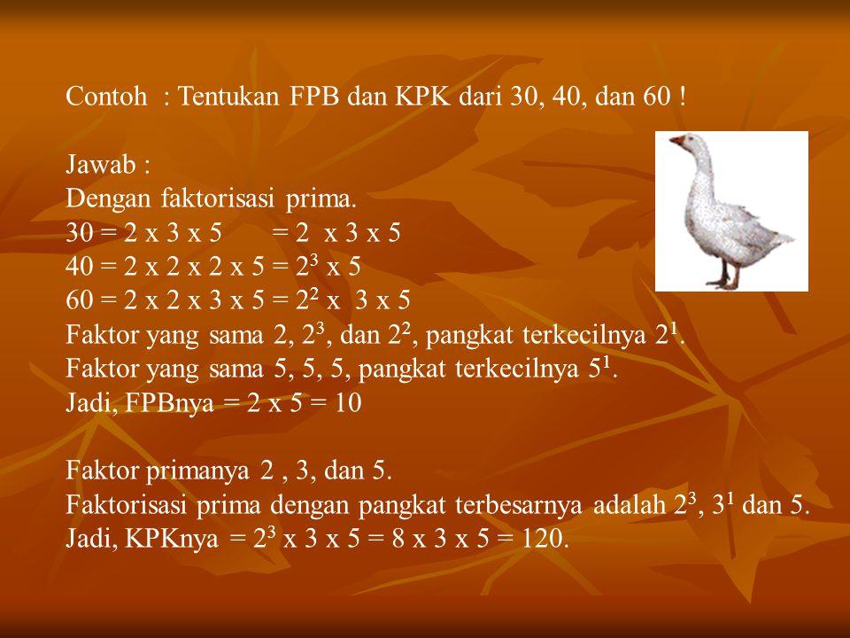 Contoh : Tentukan FPB dan KPK dari 30, 40, dan 60 !