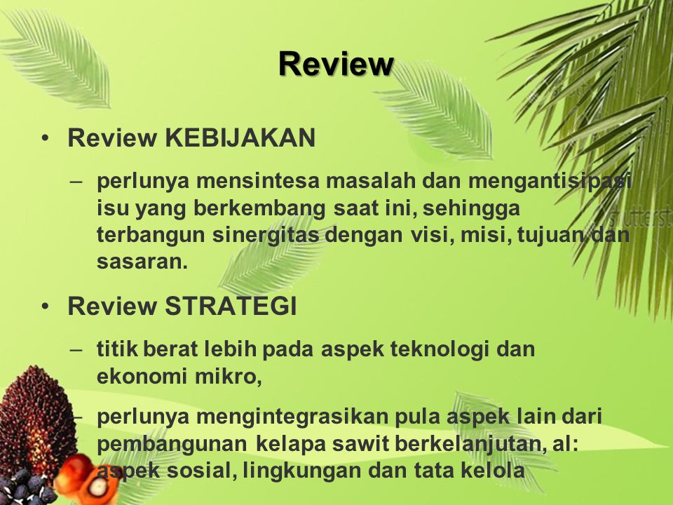 Review Review KEBIJAKAN Review STRATEGI
