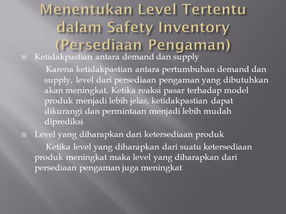 Menentukan Level Tertentu dalam Safety Inventory (Persediaan Pengaman)