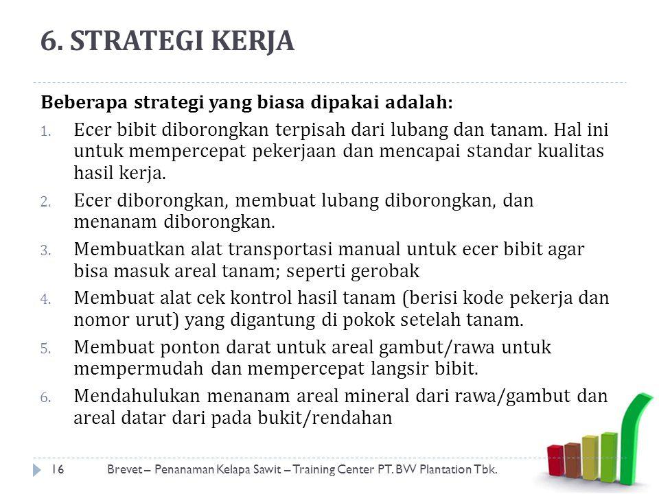 6. STRATEGI KERJA Beberapa strategi yang biasa dipakai adalah:
