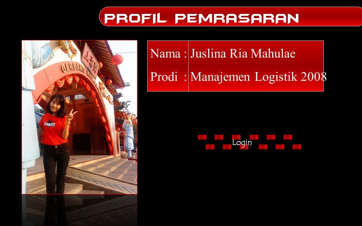 PROFIL PEMRASARAN Nama : Juslina Ria Mahulae