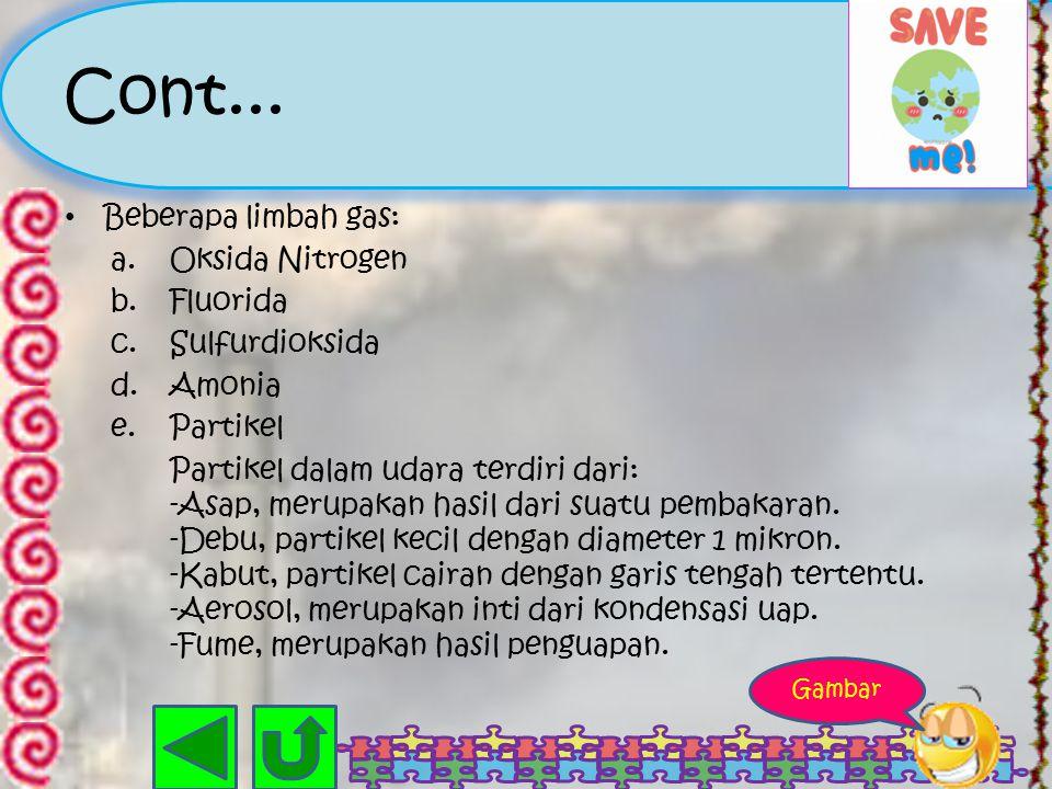 Cont... Beberapa limbah gas: Oksida Nitrogen Fluorida Sulfurdioksida