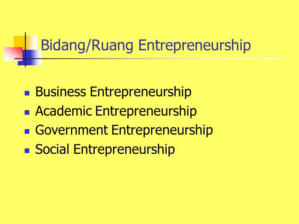 Bidang/Ruang Entrepreneurship