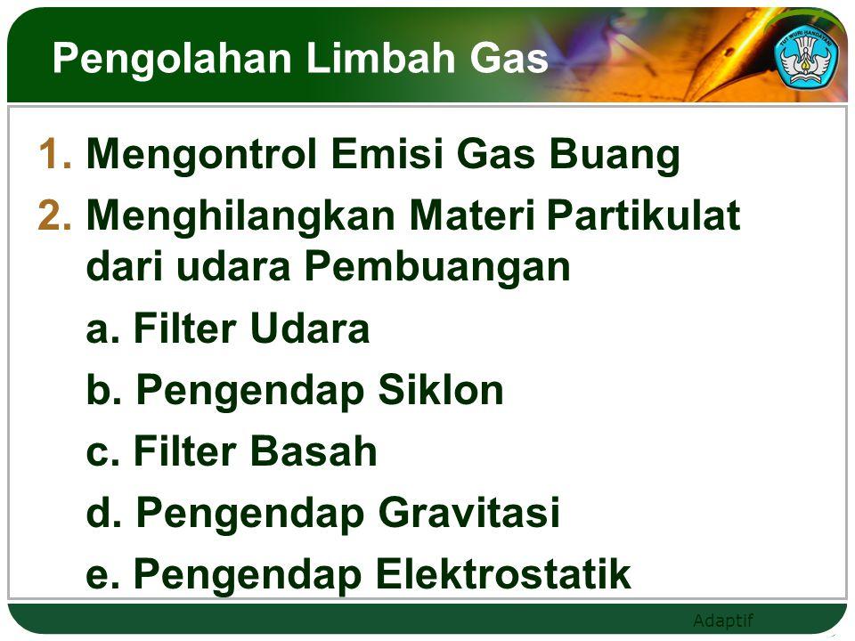 Pengolahan Limbah Gas Mengontrol Emisi Gas Buang. Menghilangkan Materi Partikulat dari udara Pembuangan.