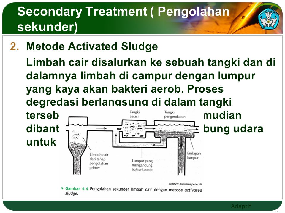 Secondary Treatment ( Pengolahan sekunder)