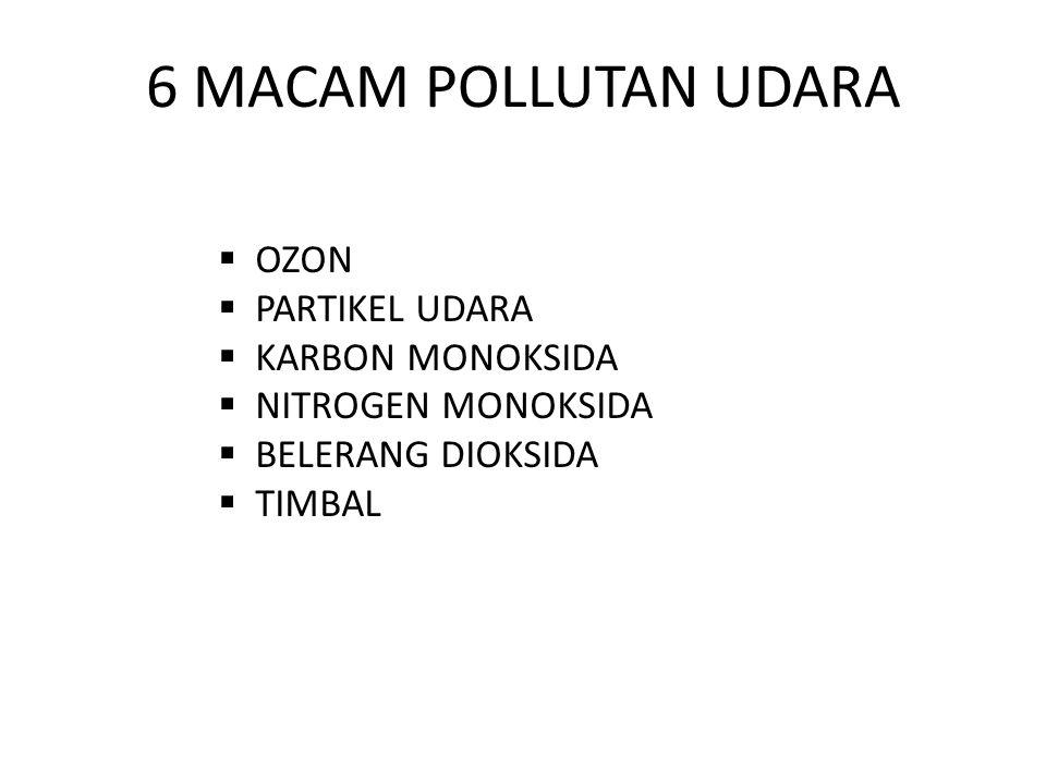 6 MACAM POLLUTAN UDARA OZON PARTIKEL UDARA KARBON MONOKSIDA