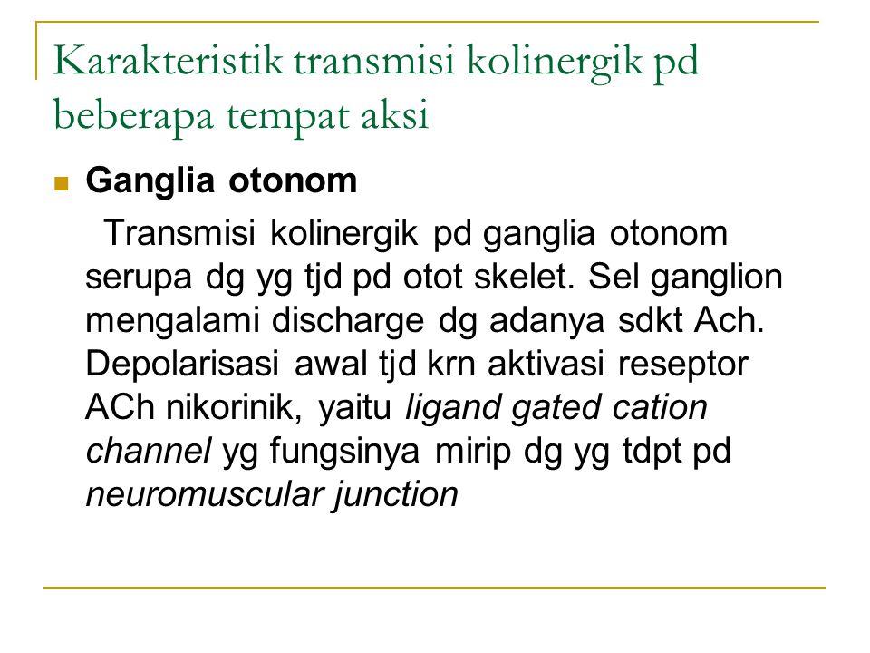 Karakteristik transmisi kolinergik pd beberapa tempat aksi