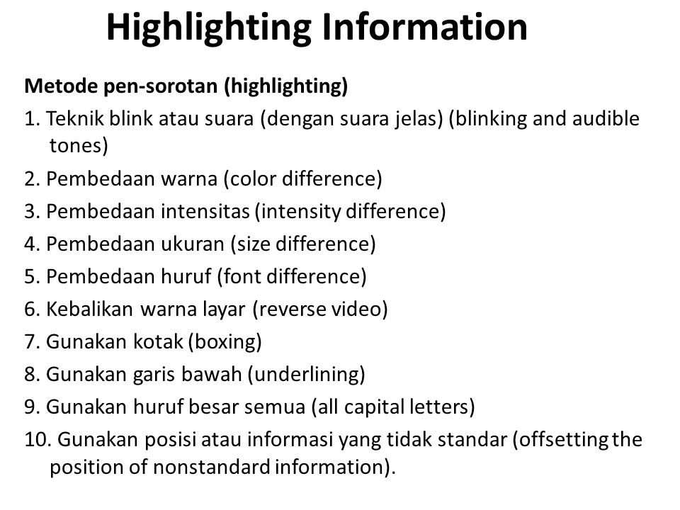 Highlighting Information
