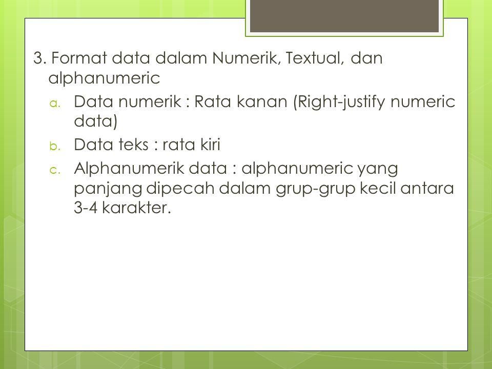 3. Format data dalam Numerik, Textual, dan alphanumeric