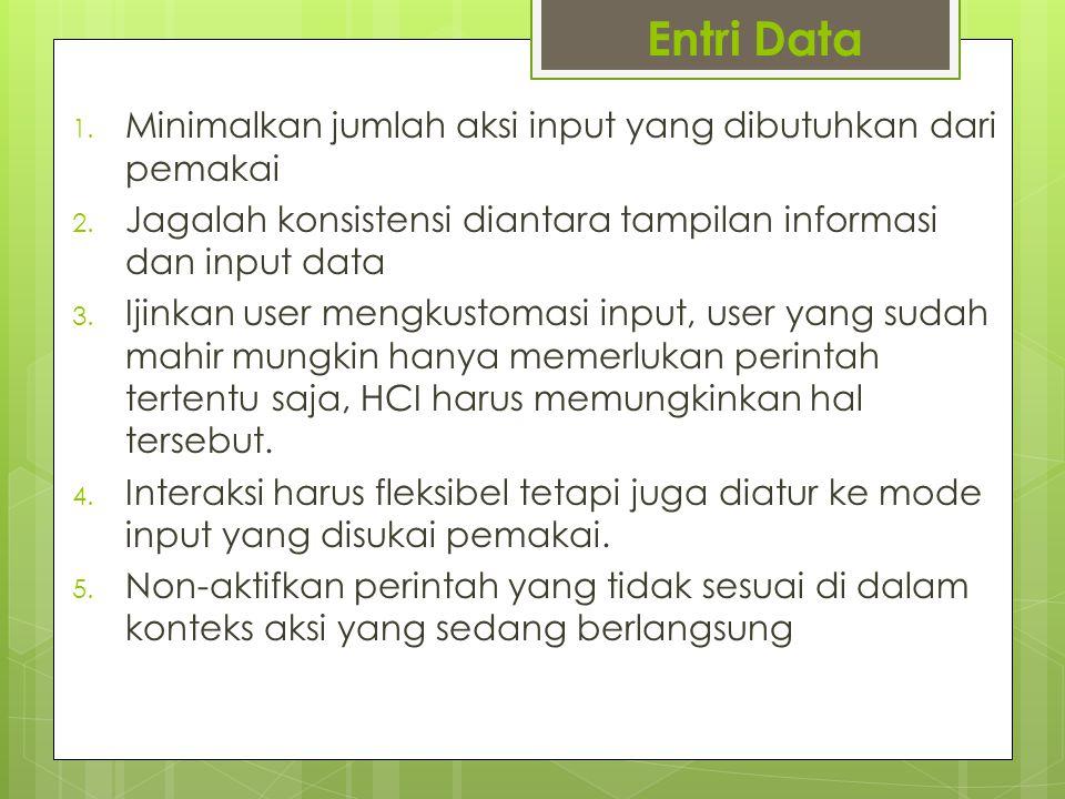 Entri Data Minimalkan jumlah aksi input yang dibutuhkan dari pemakai