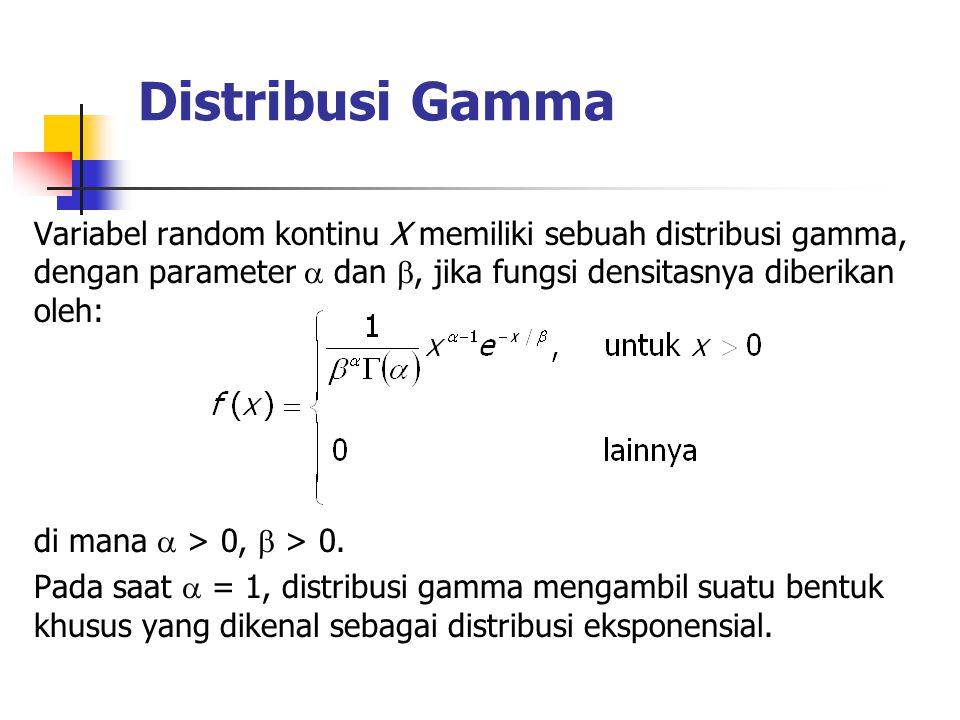 Distribusi Gamma Variabel random kontinu X memiliki sebuah distribusi gamma, dengan parameter  dan , jika fungsi densitasnya diberikan oleh: