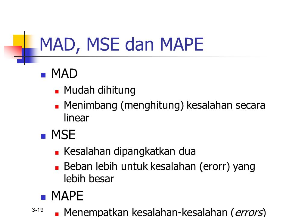MAD, MSE dan MAPE MAD MSE MAPE Mudah dihitung