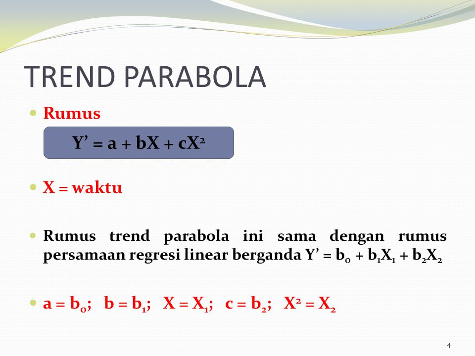 TREND PARABOLA Y' = a + bX + cX2 Rumus X = waktu