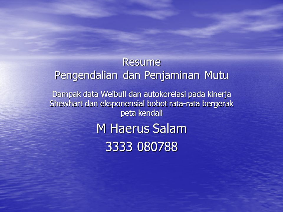 Resume Pengendalian dan Penjaminan Mutu