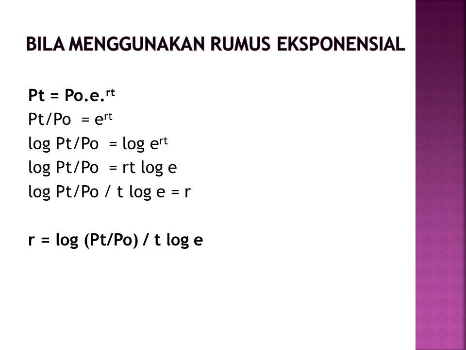 BILA menggunakan rumus eksponensial