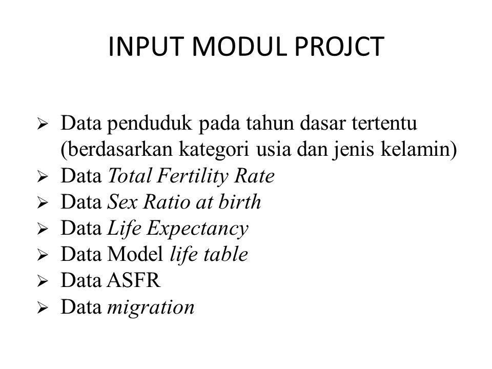 INPUT MODUL PROJCT Data penduduk pada tahun dasar tertentu (berdasarkan kategori usia dan jenis kelamin)