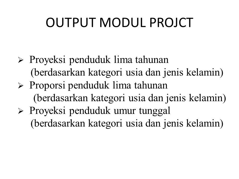 OUTPUT MODUL PROJCT Proyeksi penduduk lima tahunan