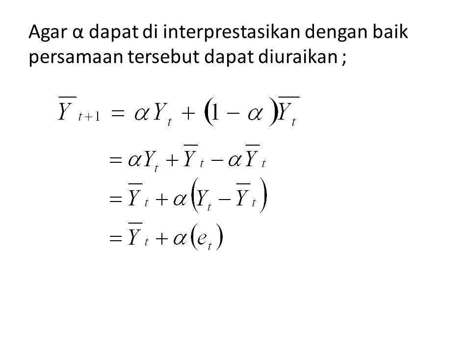 Agar α dapat di interprestasikan dengan baik persamaan tersebut dapat diuraikan ;