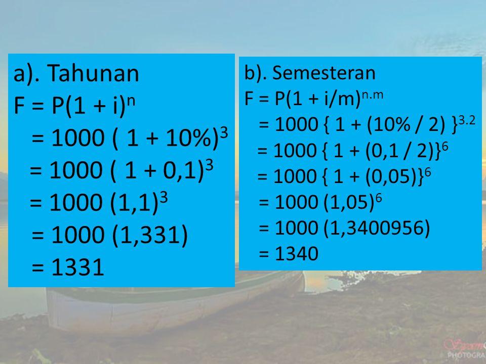 a). Tahunan F = P(1 + i)n = 1000 ( 1 + 10%)3 = 1000 ( 1 + 0,1)3